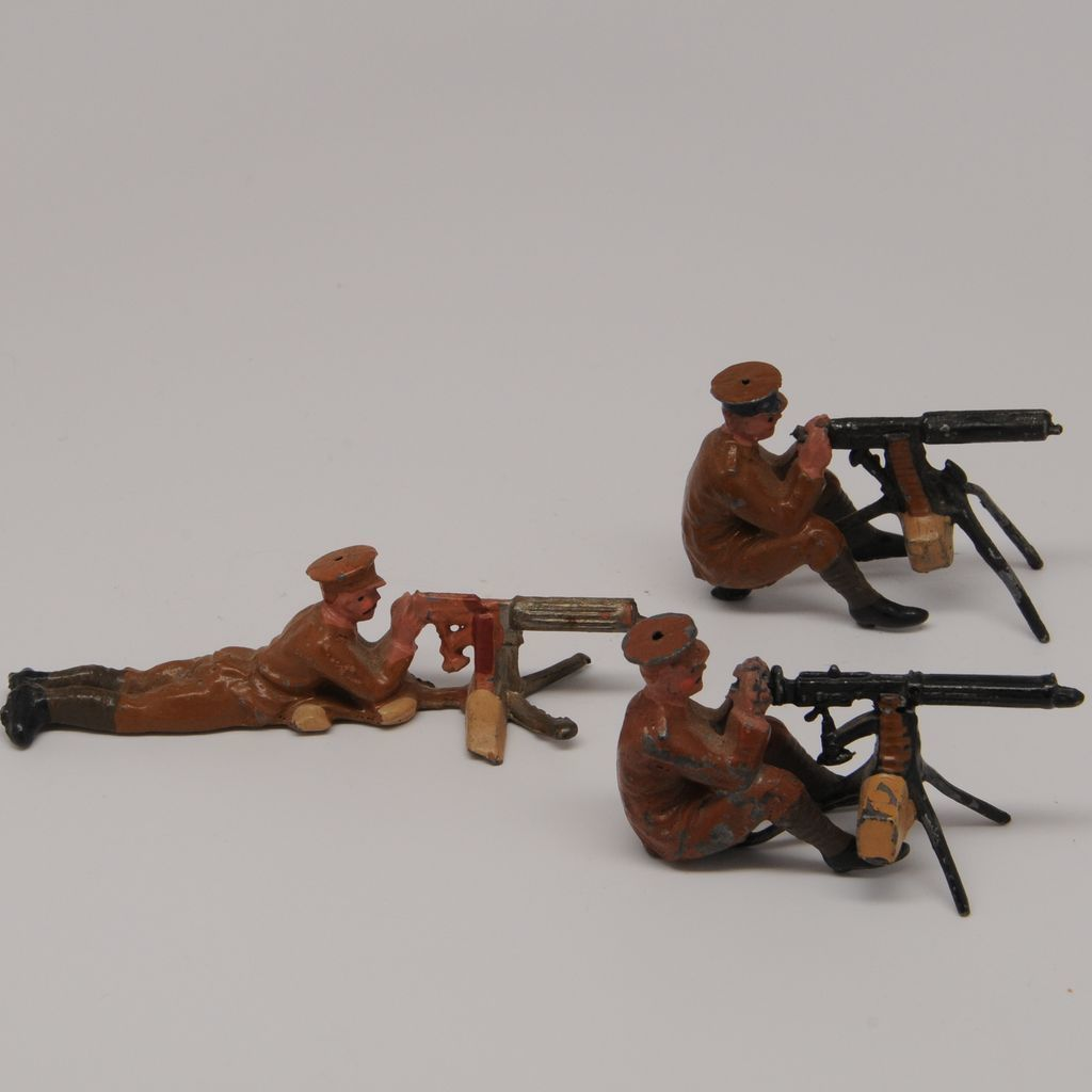 Britains Lead Soldiers From Set 1318 Pre War Machine Gunners Sitting and Lying