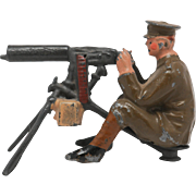 Britains Lead Soldier From Set 1318 Pre War Machine Gunner Pre-1930 Maxim Gun