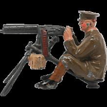 Britains Lead Soldier From Set 1318 Pre War Machine Gunner Pre-1930 Maxim Gun