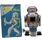 N Noguchi Japan Mechanical Space Man With Spark Tin Wind Up