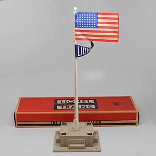 Lionel Postwar No 89 Flagpole in Box For Railroad Layout or as Decorative Object