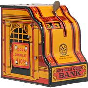 Marx Get Rich Quick Tin Litho Bank in amazing condition