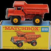 Vintage Lesney Matchbox 28d Mack Dump Truck Yellow Hubs
