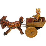 Marx Tin Litho WInd Up Donkey, Driver and Cart