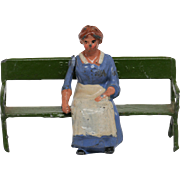 Britains 561 Pre-War Lead Farmer's Daughter Sitting with Park Seat