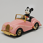Masudaya Mickey Mouse Morgan Wind Up Car Pink