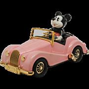 Masudaya Mickey Mouse Morgan Wind Up Car Pink