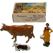 Britains Farm Set 5012 Jersey Cow Milkmaid and Calf, Lead