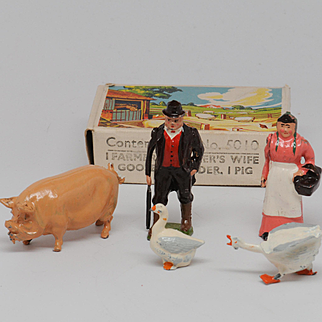 Britains Farm Set 5010 Farmer, Farmer's Wife, goose, gander ,pig