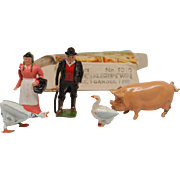 Britains Farm Set 5010 Farmer, Farmer's Wife, goose, gander ,pig