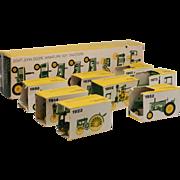 Set of 8 John Deere Miniature Tractor Toys