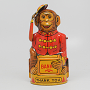 J Chein and Co USA  Monkey Tipping Hat Tin Coin Bank