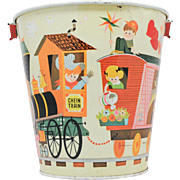 Chein Sand Pail with Chein Train and Children Farm Theme