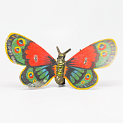 Very Old Tin Litho Wind-up Butterfly with Flapping Wings