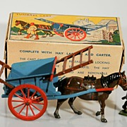 Vintage Britains Tumbrel Farm Cart with Drover and Box