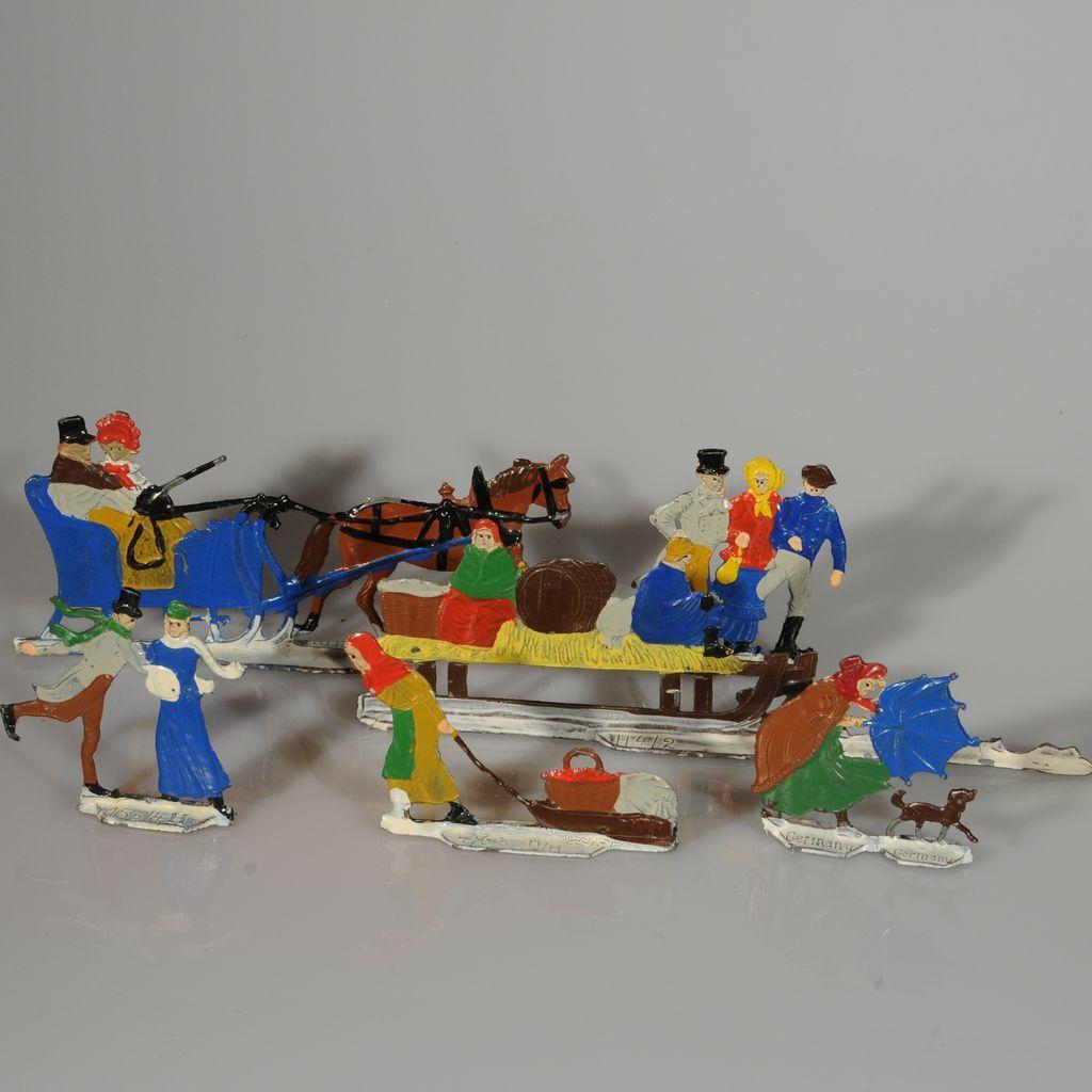 Six Delightful Vintage Heinrichsen Germany Winter Flat Tin Figures
