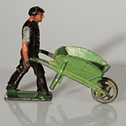 Vintage Johillco Lead Man with Wheelbarrow