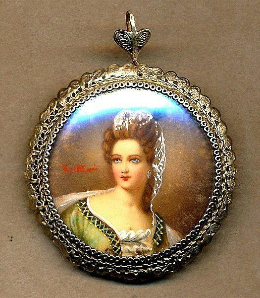 Old Vintage Hand-Painted Signed Miniature Portrait Pin Silver