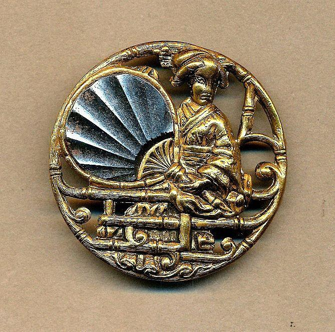 Antique Victorian Sewing Button Stamped Brass GEISHA GIRL w/ Fan