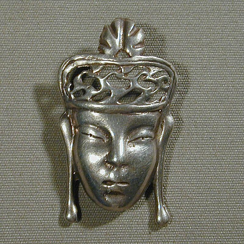 Vintage Art Deco Era Sterling Silver FACE Pin Brooch