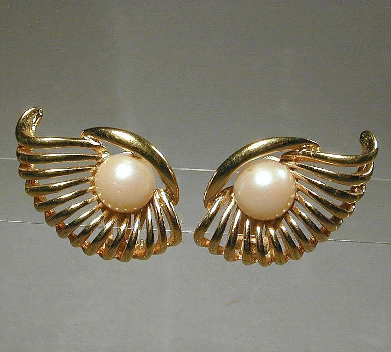 Vintage NINA RICCI Goldtone Faux Pearl ~ Winged ~ Clipback Earrings