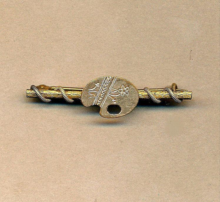 Antique Victorian Art Palette Gilded Bar Pin