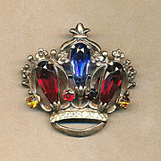 Vintage c1930s Sterling Silver CROWN Brooch Pin Multi-Color Rhinestones