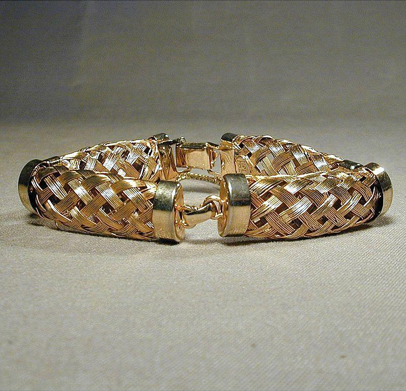 Vintage HOBE Goldtone Woven MESH Light & Breezy Bracelet