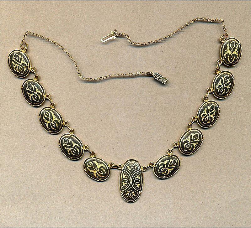 Vintage Spanish DAMASCENE Etched Necklace - Great Design