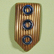 Art Deco 1930s Brass & Blue Mirror Dress Clip Paristyle N.Y.C.