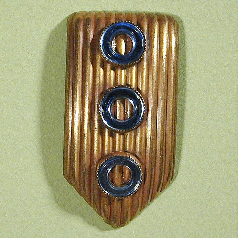 Art Deco 1930s Brass & Blue Mirror Dress Clip Paristyle N.Y.C.