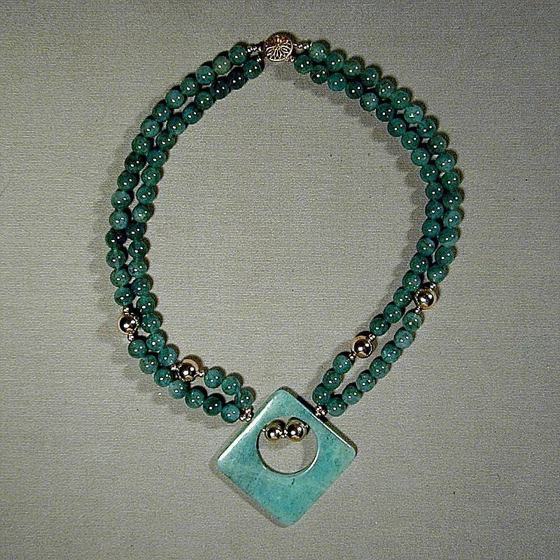 Vintage Aventurine Jadite Beads Necklace
