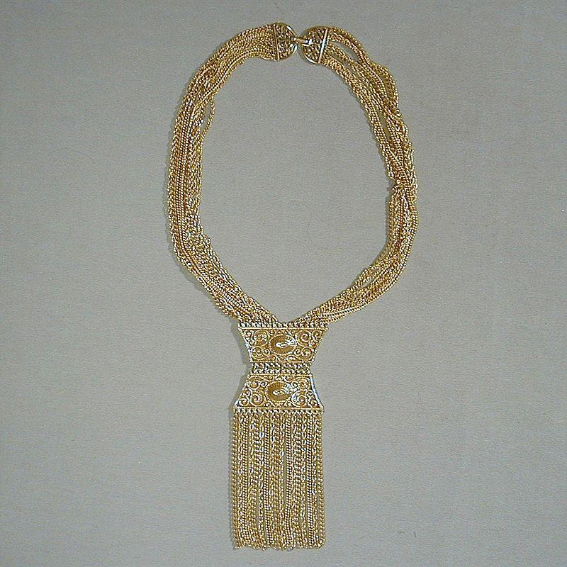SOLD TO J.T. - Vintage 1960s Big Bold Goldtone Fringed Pendant Necklace