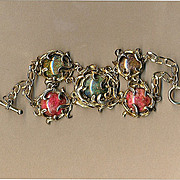 Vintage Colorful Clunky BRACELET - Gilt-Flecked Glass in Faux Gold Swirls