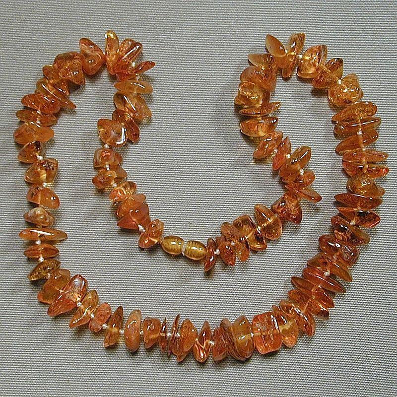 Vintage Baltic Honey Amber Natural Nugget Necklace w/ Inclusions