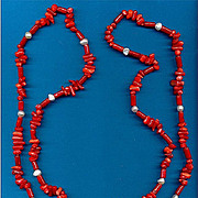 Vintage RED CORAL Bead Necklace Long 52 Inches w/ Freshwater Cultured Pearls