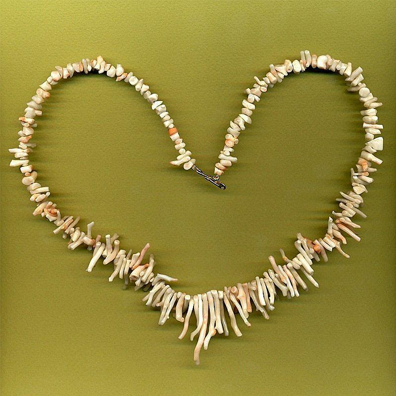 Vintage Angel Skin Branch Coral Necklace w/ Kiss of Pink