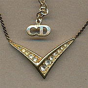 Vintage CHRISTIAN DIOR Faux Gold & Crystal Necklace