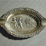 Victorian German 800 Silver Ashtray Cherubs w/ Flower Wagon