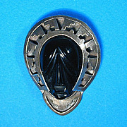 Vintage Mexican Sterling Silver & Carved Black Onyx Face Mask Pin