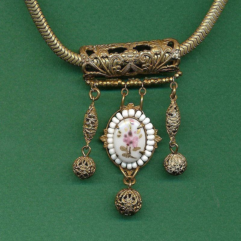 Vintage MIRIAM HASKELL Victorian Style Brass & Porcelain Necklace