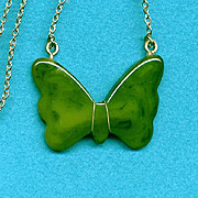 Vintage Bakelite & Gold-Filled BUTTERFLY Pendant Necklace