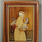 Vintage Folk Art Oil Painting - The Flower Lady - Framed & Signed