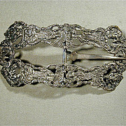 Big Fantastic Antique Sterling Silver DUTCH Repousse Belt Buckle
