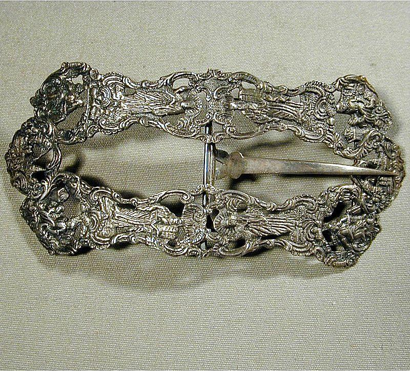 Big Intricate Antique Sterling Silver DUTCH Repousse Belt Buckle