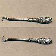 Antique Victorian Art Nouveau Miniature Sterling Silver Buttonhook