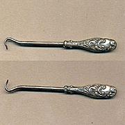 Antique Victorian Art Nouveau Miniature Sterling Silver Buttonhook