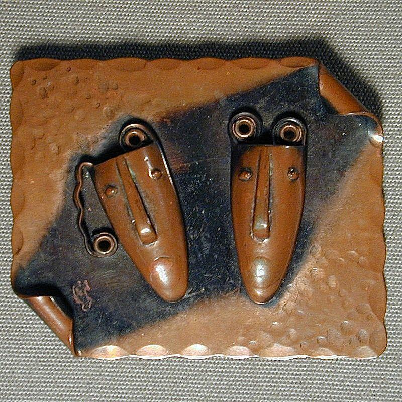 Mid-Century REBAJES Modernist Hammered Copper Face Masks Pin