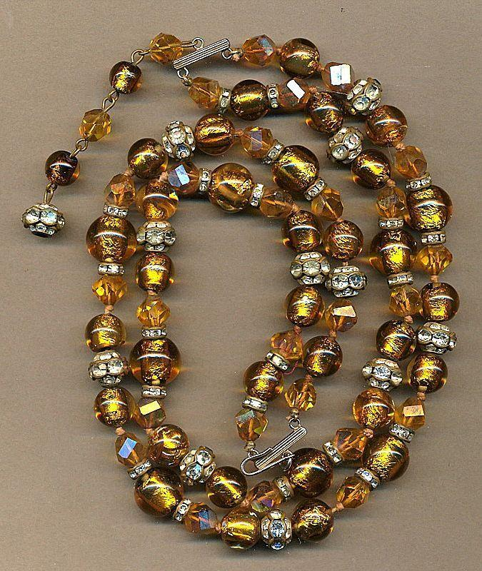 Vintage Double-Strand Italian Gilt Foiled Bead & Rhinestone Necklace