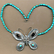 Large Sterling Silver BUTTERFLY Pendant on Turquoise Bead Necklace